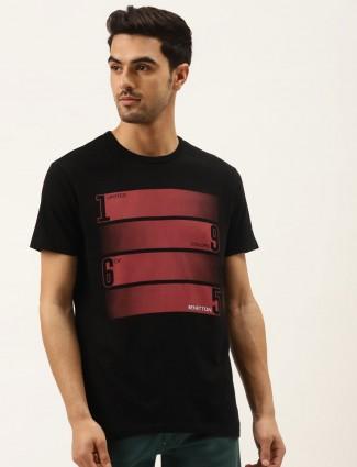 UCB solid printed black slim fit t-shirt