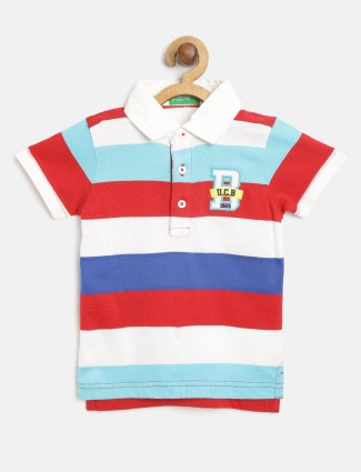 UCB white and red stripe polo t-shirt
