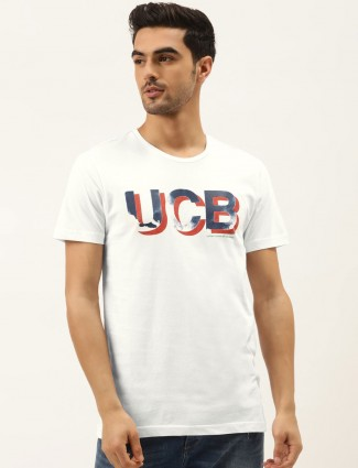 UCB white casual wear printed t-shirt