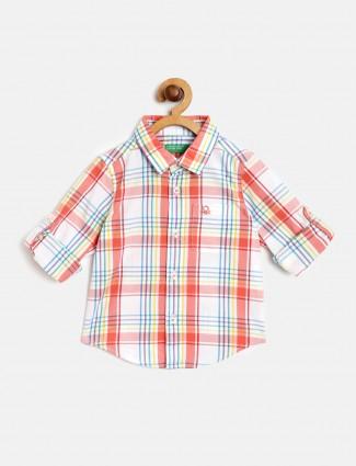 UCB white checks casual wear shirt