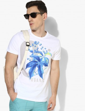 UCB white color printed casual t-shirt