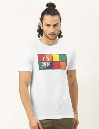 UCB white printed casual mens t-shirt