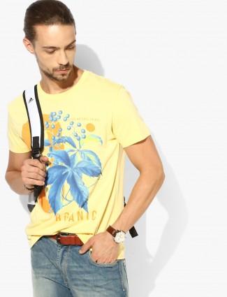 UCB yellow printed casual t-shirt