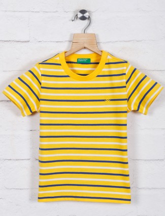 UCB yellow stripe cotton t-shirt