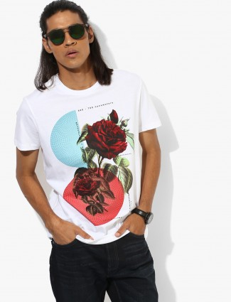 United Color Of Benetton white printed casual t-shirt