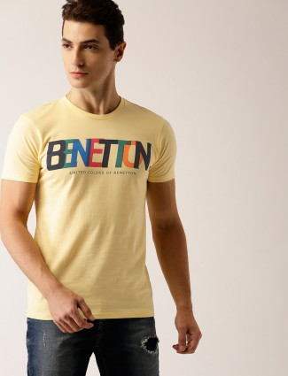 United color of Benetton yellow cotton t-shirt