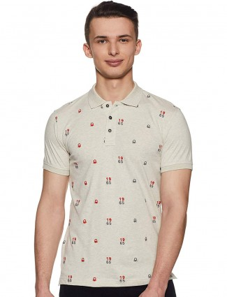 United Colors of Benetton beige printed cotton t-shirt