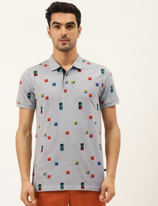 United Colors of Benetton grey printed polo t-shirt