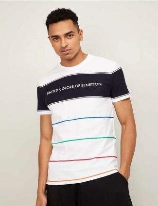 United Colors of Benetton mens  white stripe t-shirt