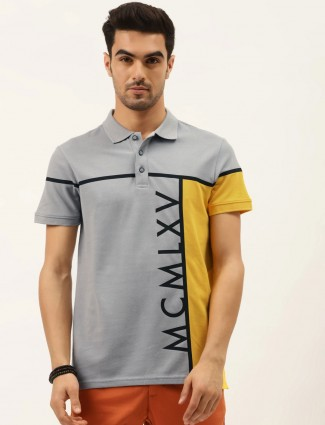 United Colors of Benetton printed grey polo t-shirt