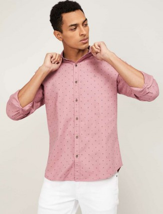 United Colors of Benetton printed pink cotton shirt
