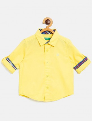 United Colors of Benetton solid bright yellow shirt