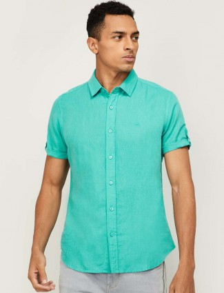 United Colors of Benetton solid green cotton shirt