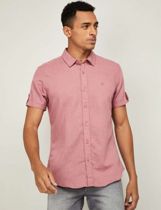 United Colors of Benetton solid pink linen shirt