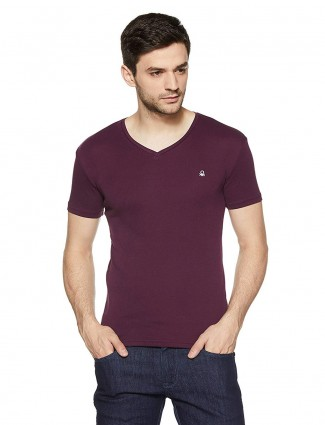 United Colors of Benetton solid purple t-shirt