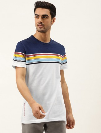United Colors of Benetton white and blue stripe t-shirt