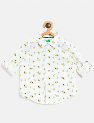 United Colors of Benetton white printed boys shirt