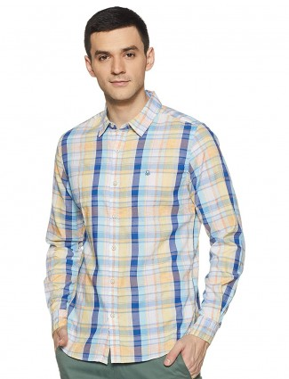 United Colors of Benetton yellow and blue checks shirt