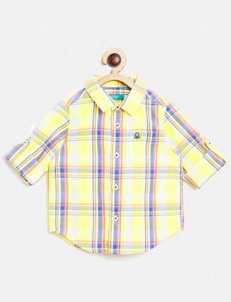 United Colors of Benetton yellow checks shirt