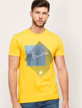 United Colors of Benetton yellow men printed t-shirt