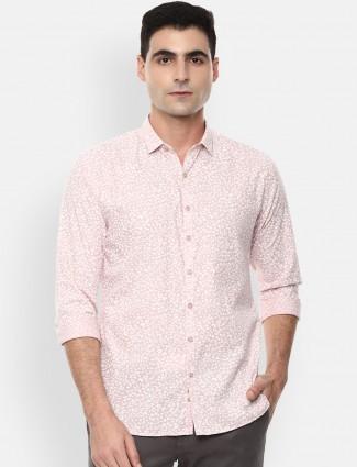 V.DOT printed pink cotton shirt