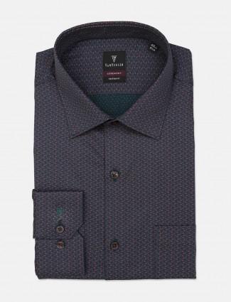 Van Heusen checks green printed shirt
