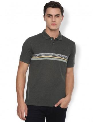 Van heusen green stripe casual polo t-shirt