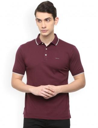 Van heusen maroon soild polo t-shirt