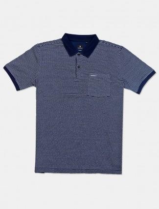 Van Heusen navy printed slim fit mens t-shirt