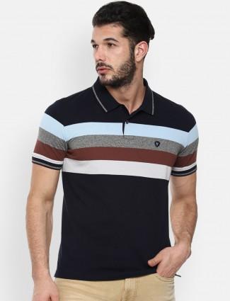Van heusen navy stripe polo t-shirt for men