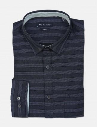 Van Heusen patch pocket navy stripe mens shirt