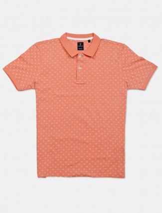 Van Heusen printed peach mens t-shirt