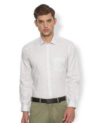 Van Heusen white full sleeves printed shirt