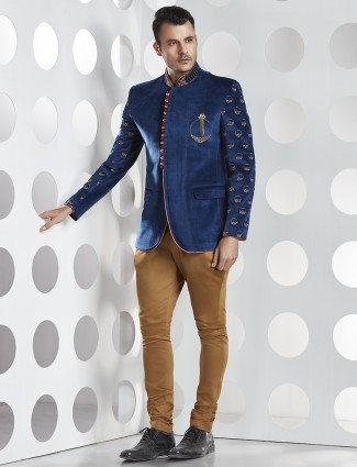 Velvet blue jodhpuri suit