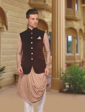 Velvet brown wedding wear designer waistcoat  set