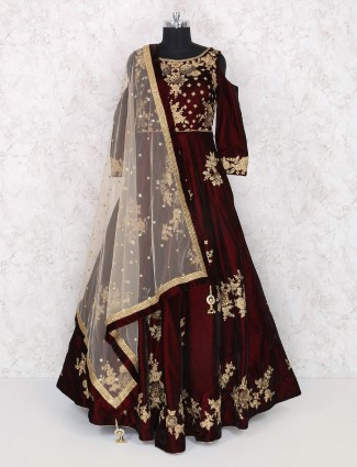 Velvet fabric wine maroon coolor gown