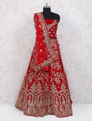 Velvet red color semi stitched lehenga choli
