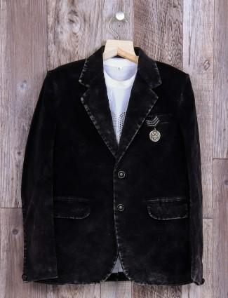 Velvet solid black blazer