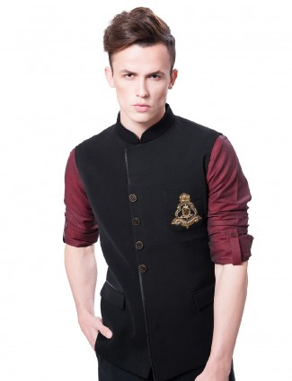 Velvet solid party wear waistcoat