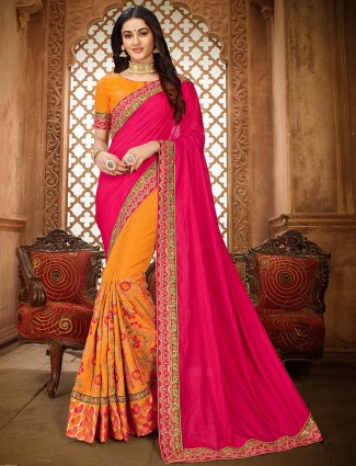 Vichitra silk embroidered half and half saree
