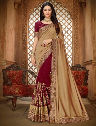 Vichitra silk beige and maroon half and half saree