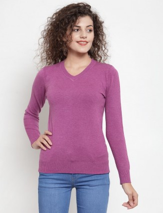 Violet casual knitted v neckline top
