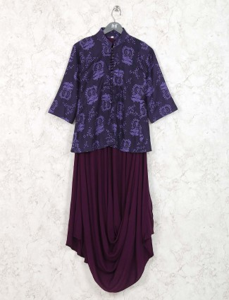 Violet color round neck cotton kurti