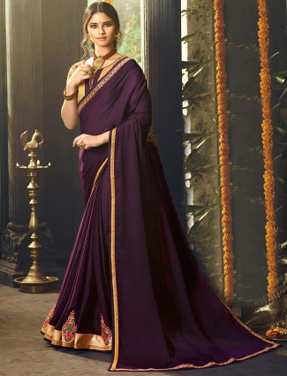 Purple color saree in satin fabric
