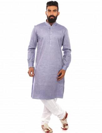 Violet cotton casual wear solid Kurta Suit