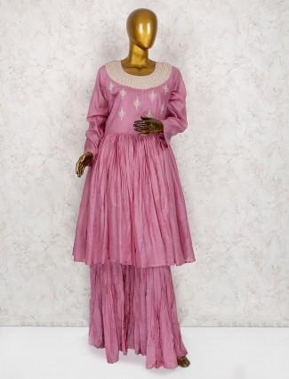 Violet cotton fabric punjabi sharara suit