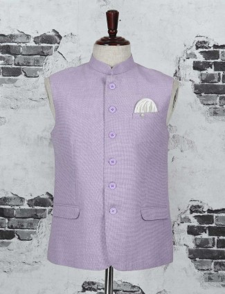 Violet cotton jute fabric waistcoat
