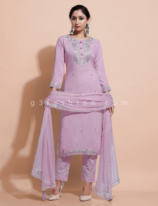 Violet cotton round neck kurti set