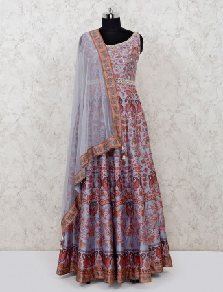Violet cotton silk floor length printed anarkali suit
