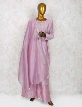 Violet cotton silk palazzo suit